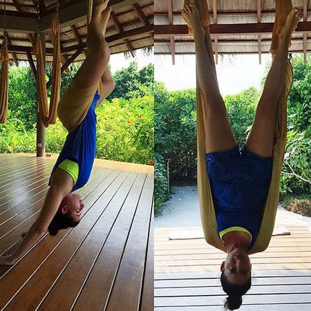 Жасмин худеет с помощью йоги в воздухе