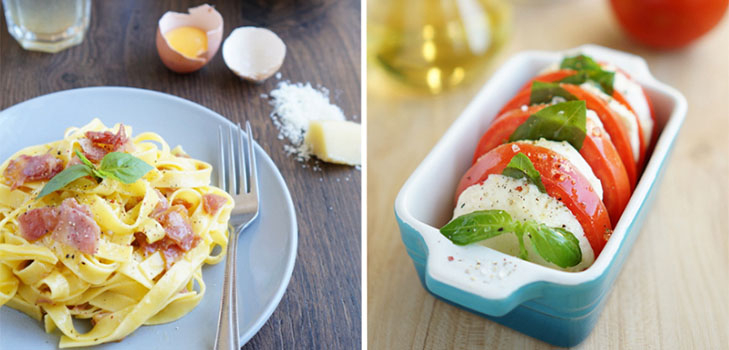 Быстрый и вкусный итальянский ланч: паста с соусом карбонара и капрезе
