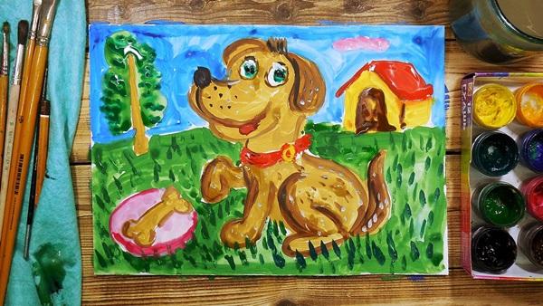 Как легко и красиво нарисовать Собаку символ 2018 года карандашом и красками: мастер-классы для детей и начинающих художников