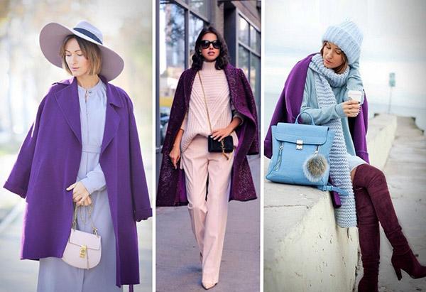 С чем носить самое модно в 2018 фиолетовое пальто: лучшие образы зимы и весны 2018
