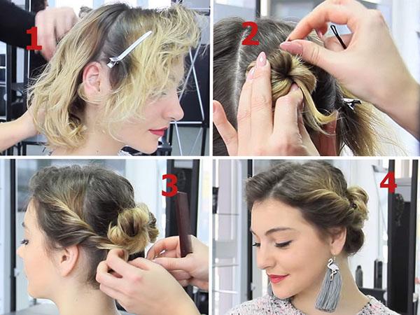 Стильная укладка для тонких и коротких волос: объем и небрежные пучки