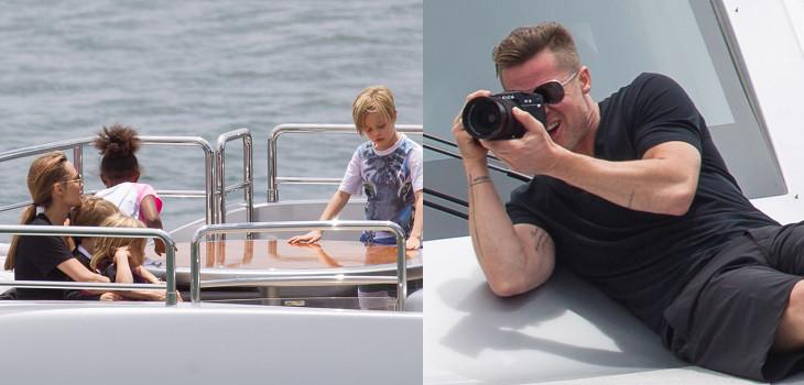 Питт, Джоли и все их шестеро детей на роскошной яхте