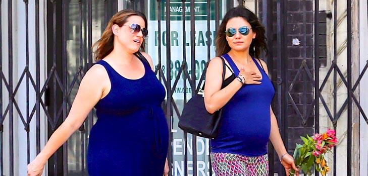 Мила Кунис на прогулке с беременной сестрой Катчера