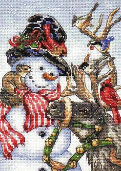 Схема новогодней вышивки: снеговик
