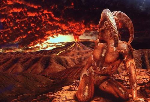 овен и извержение вулкана