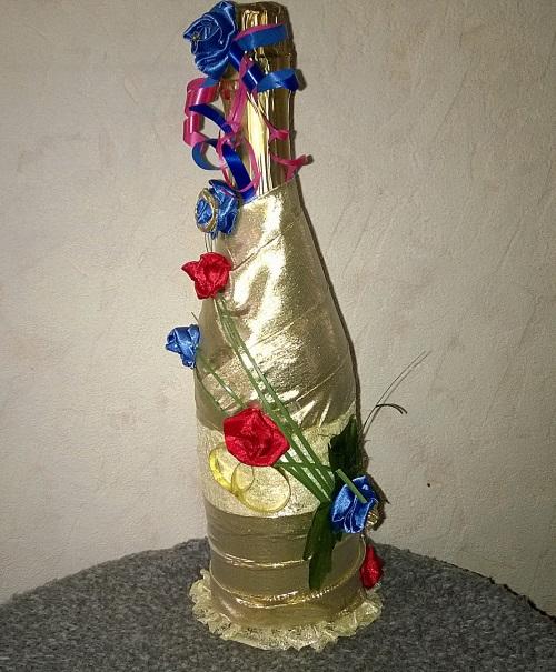 Украшение свадебного шампанского своими руками