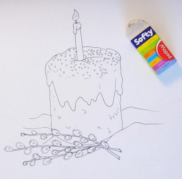 Как нарисовать картинку на пасху карандашом, ретро для открытки
