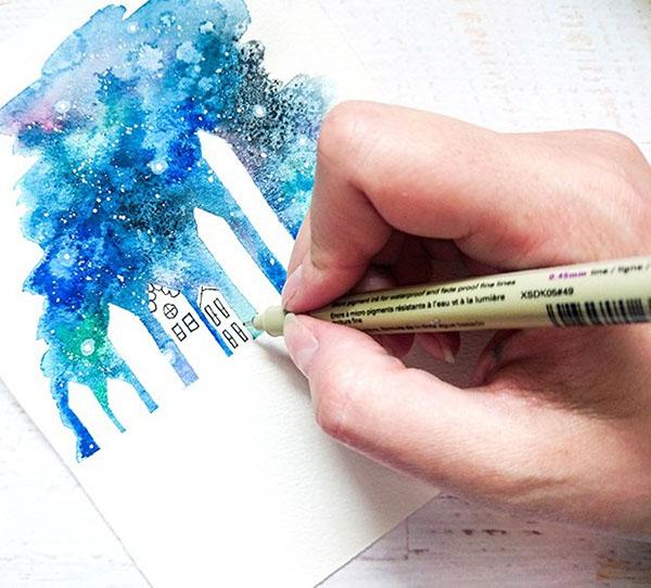 kak-narisovat-kosmos-46 Как нарисовать космос 🥝 акварелью своими руками поэтапно