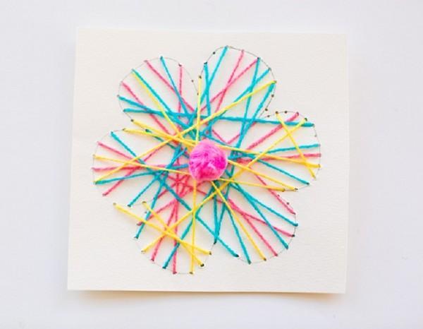 День, открытки с нитками своими руками