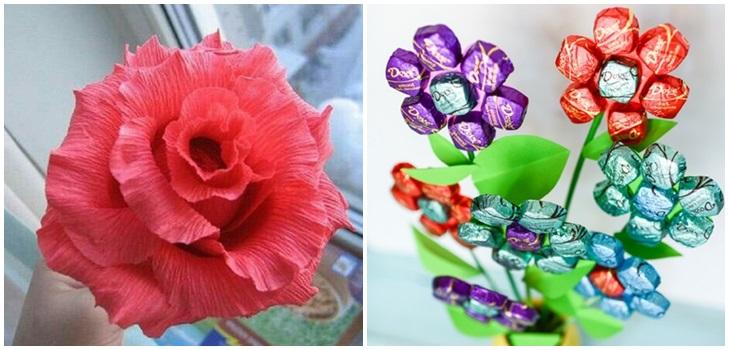 buket-iz-konfet-svoimi-rukami Букет из конфет своими руками в мастер-классе с фото. Как сделать цветы из конфет самому