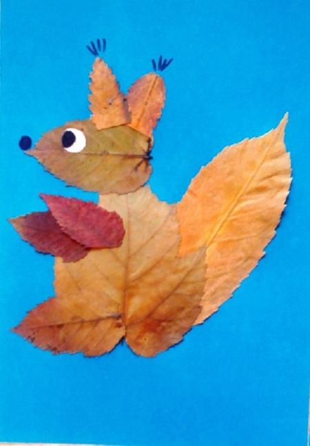kartinki-iz-listev-belka-1 Картины из листьев и цветов своими руками для детского сада и школы