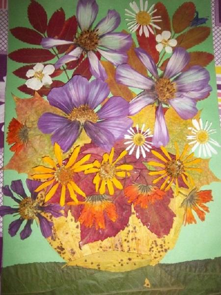 kartinki-iz-listev-cvetov-5 Картины из листьев и цветов своими руками для детского сада и школы
