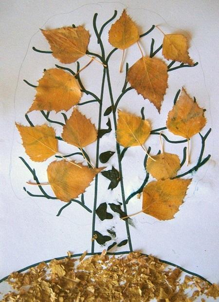 kartinki-iz-listev-osen-6 Картины из листьев и цветов своими руками для детского сада и школы