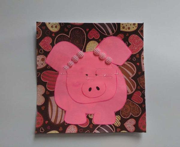 Днем рождения, новогодняя открытка свинка из бумаги