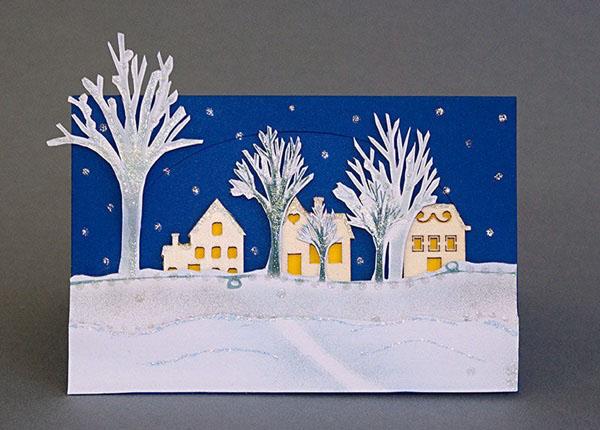 Зимняя открытка с новым годом своими руками