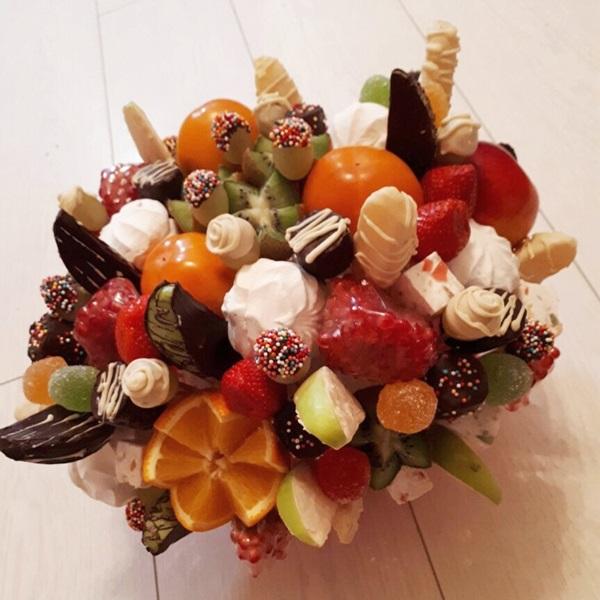 фруктово конфетный букет своими руками пошаговое фото полотен изготовлен