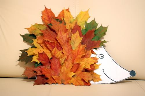 Как сделать ёжика из листьев фото 66