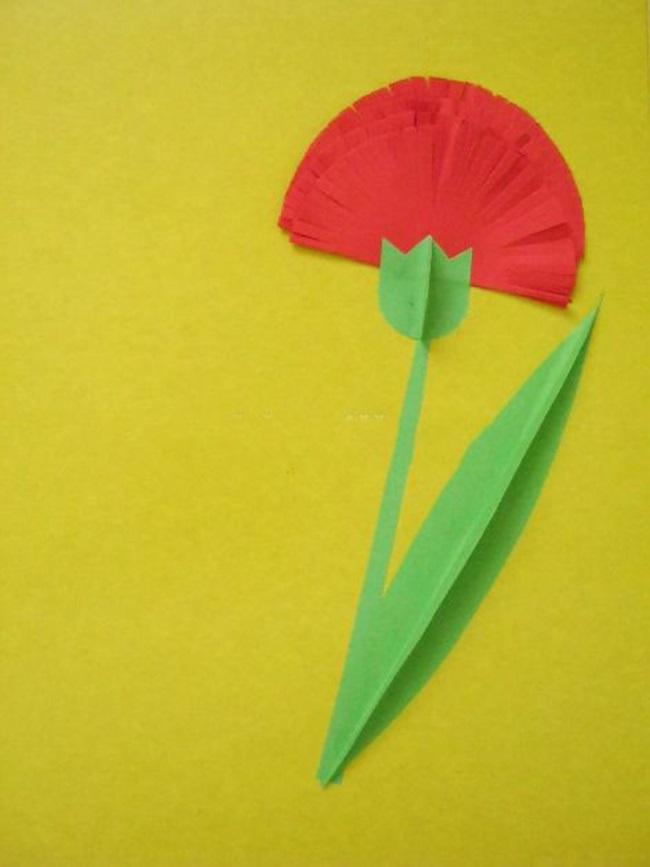 Гвоздика для открытки из бумаги своими руками, пасхе