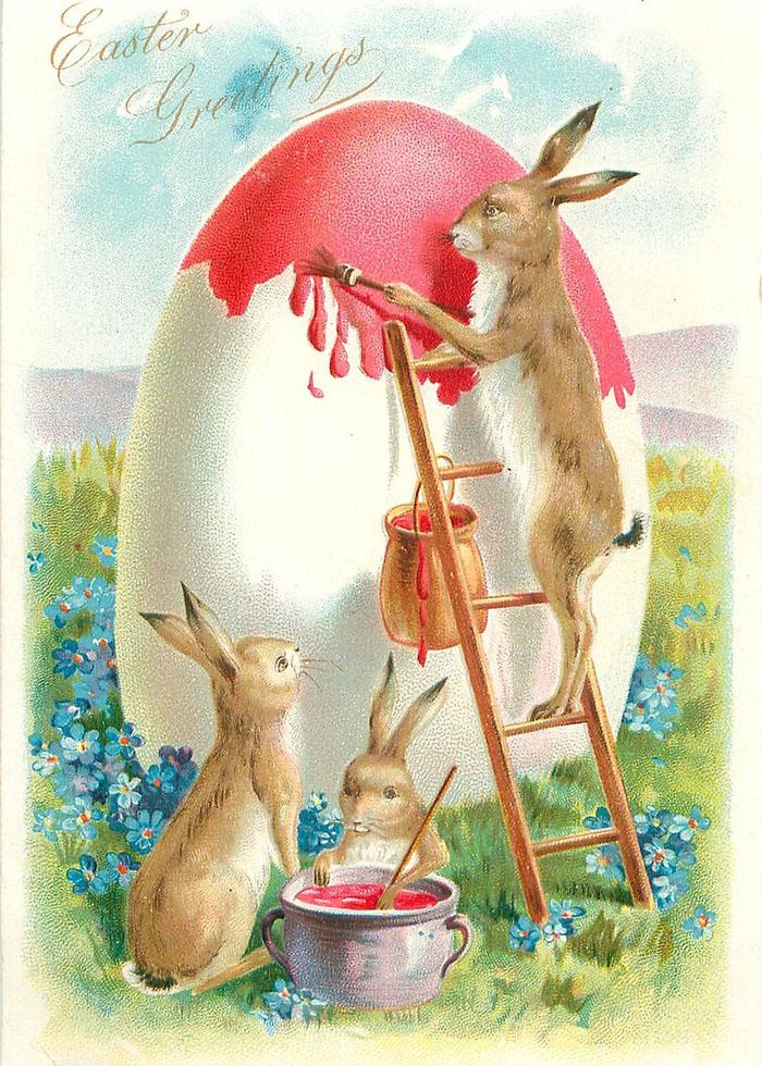 Своими, открытки с пасхальным зайцем